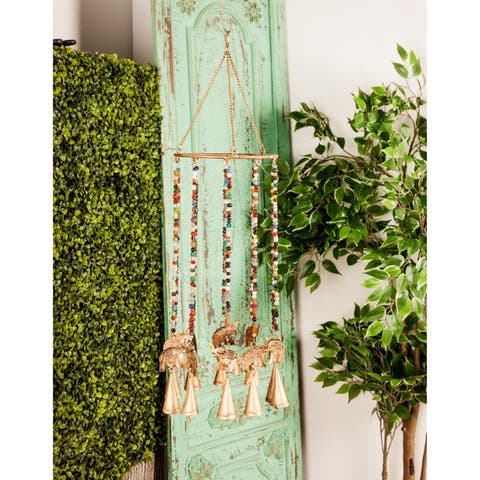 Traditional 26 x 7 Inch Gold Elephant Imitation Wind Chime