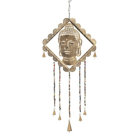 Kenai 30 x 14-inch Gold Buddha Wind Chime with Multi-colored Beads by Havenside Home