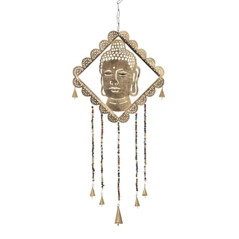 Havenside Home Kenai 30 x 14-inch Gold Buddha Wind Chime with Multi-colored Beads