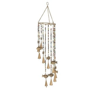 Coastal 26 x 7 Inch Gold Synthetic Fish Wind Chime with Bead Accents
