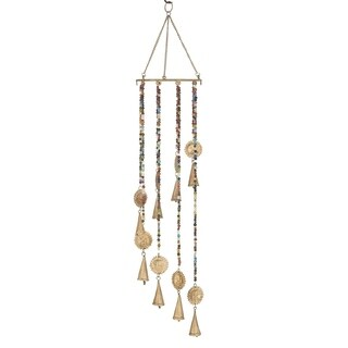 Eclectic 28 x 7 Inch Gold Sun Wind Chime with Multi-Colored Beads