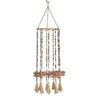Eclectic 20 x 7 Inch Gold and Bronze Dragonfly Wind Chime with Beads