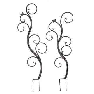 Set of 2 Contemporary 60 and 69 Inch Metal Butterfly Trellises