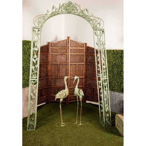93 x 54 Inch Iron Scrollwork and Floral Garden Arch by Studio 350