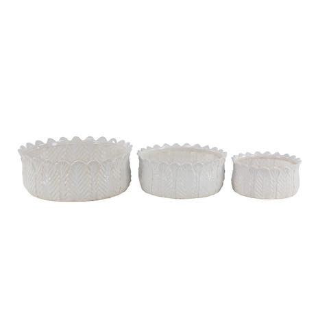 Set of 3 Modern 5, 5 and 6 Inch White Leaf-Designed Stoneware Planters