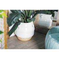Modern 15 x 16 Inch Lacquered White Stoneware Pot Planter