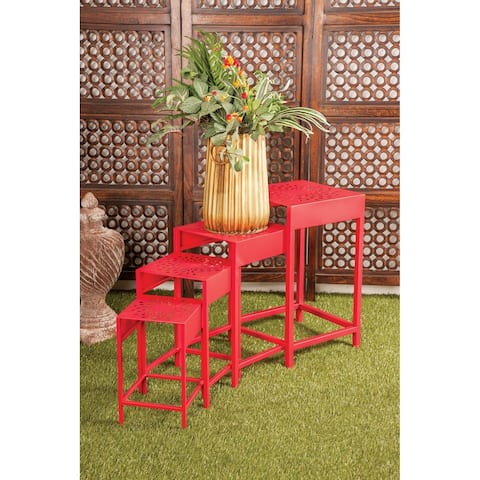 Set of 4 Eclectic Nesting Red Metal Plant Stands by Studio 350
