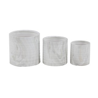 Set of 3 Contemporary 6, 7 and 9 Inch White Cylindrical Planters