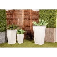 Set of 3 Farmhouse 16, 24, and 30 Inch Cylindrical White Planters