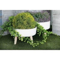 Set of 2 Farmhouse 8 and 10 Inch White Planters with Beige Stands