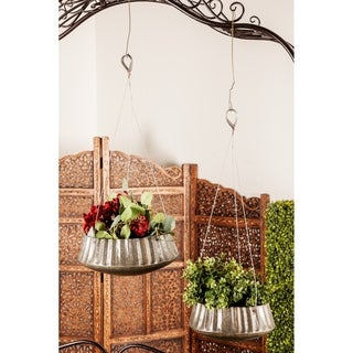 Set of 3 Industrial 10, 13, and 16 Inch Corrugated Hanging Planters