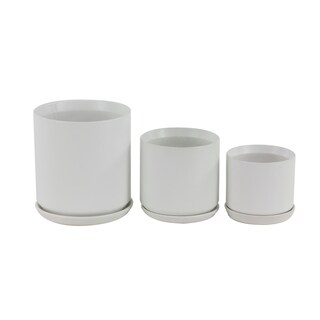 Set of 3 Modern 6, 7, and 10 Inch White Stoneware Planters