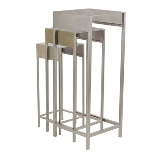 Set of 3 Contemporary 20, 24 and 28 Inch Silver Iron Plant Stands