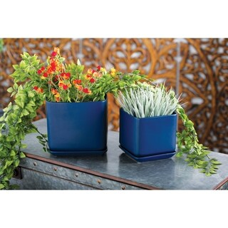 Set of 3 Modern 6, 7 and 9 Inch Blue Cube Planters with Trays