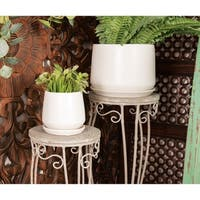 Set of 3 Modern 6, 7, and 9 Inch White Planter with Tray