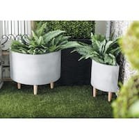 Set of 2 Farmhouse 15 and 17 Inch Half Circle Gray Planters
