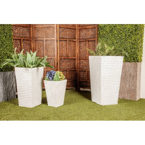 Set of 3 Farmhouse 16, 24, and 30 Inch Cylindrical Planters