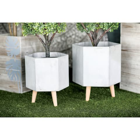 Set of 2 Farmhouse Hexagonal Gray Ceramic Planters by Studio 350