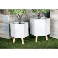 Set of 2 Farmhouse 15 and 17 Inch Light Gray Hexagon Planters
