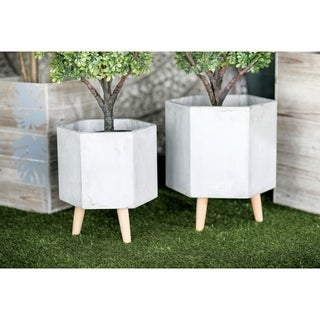 Link to Set of 2 Farmhouse Hexagonal Gray Ceramic Planters by Studio 350 Similar Items in Planters, Hangers & Stands