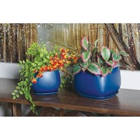 Set of 3 Modern 6, 7, and 8 Inch Navy Blue Planter with Tray