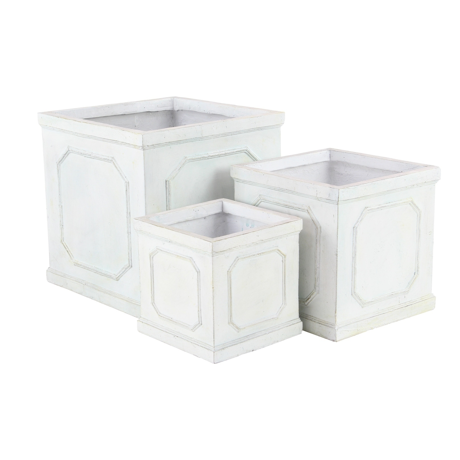 Set of 3 Rustic 11, 14 and 18 Inch Square White Planters by Studio 350