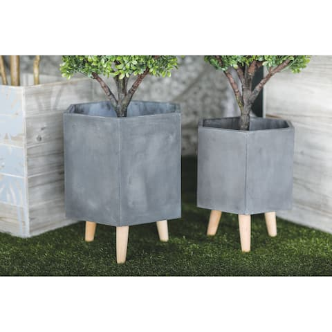 Set of 2 Modern Hexagonal Dark Gray Ceramic Planters by Studio 350