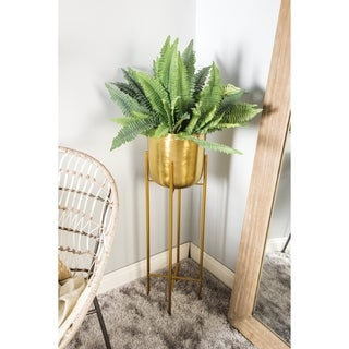 "Large Modern Metallic Gold Metal Planters with Stands Set of 2 - 12"" x 46"", 11"" x 39"""