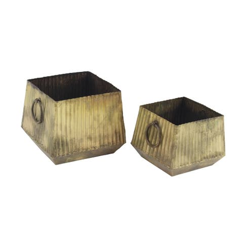 Set of 2 Industrial 9 and 12 Inch Square Corrugated Iron Planters