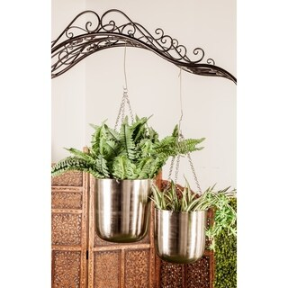 Set of 2 Modern 9 and 11 Inch Silver Iron Hanging Planters
