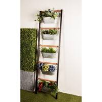 Farmhouse 75 x 21 Inch Wood and Iron Leaning Ladder with Planters