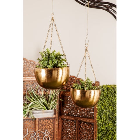 Set of 2 Modern 5 and 7 Inch Round Gold Iron Hanging Planters