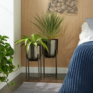 "Large, Round, Indoor/Outdoor Metallic Black & Bronze Metal Planters with Stands Set of 2 - 11"" x 22"" & 10"" x 19"""