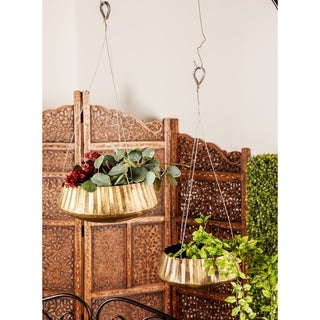 Set of 3 Rustic Round Hanging Metal Planters by Studio 350