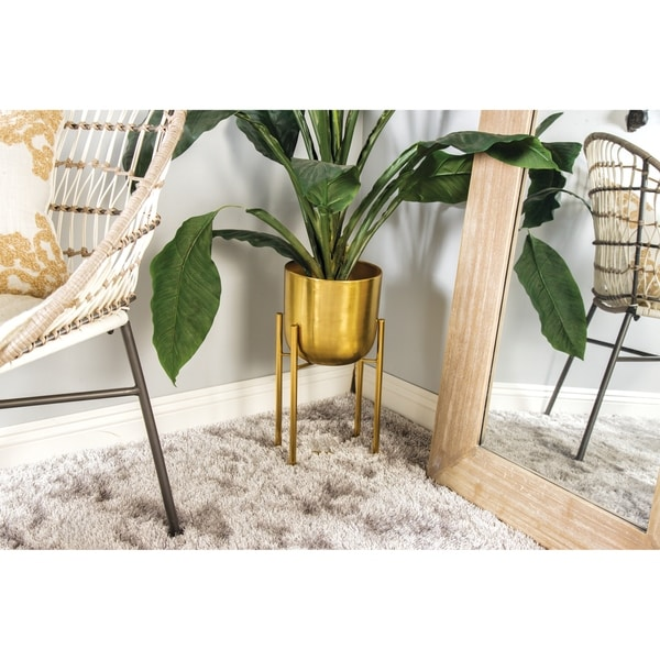 "Large, Round, Indoor/Outdoor Metallic Gold Metal Planters in Gold Stands Set of 2 - 11"" x 22"" & 10"" x 19"""