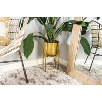 Set of 2 19 and 22 Inch Gold Iron Planters by Studio 350