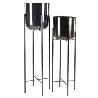 "Large Modern Metallic Black Metal Planters with Stands Set of 2 - 11"" x 46"", 10"" x 39"""