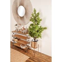 Contemporary 19 and 22 Inch Silver Iron Planters with Stands, Set of 2, by Studio 350
