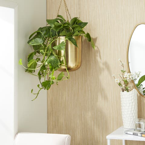 "Large, Round Metallic Gold Metal Hanging Indoor & Outdoor Planters Set of 2 - 10"" x 11"", 9"" x 9"""