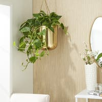 Set of 2 Modern 9 and 11 Inch Gold Iron Hanging Planters by Studio 350