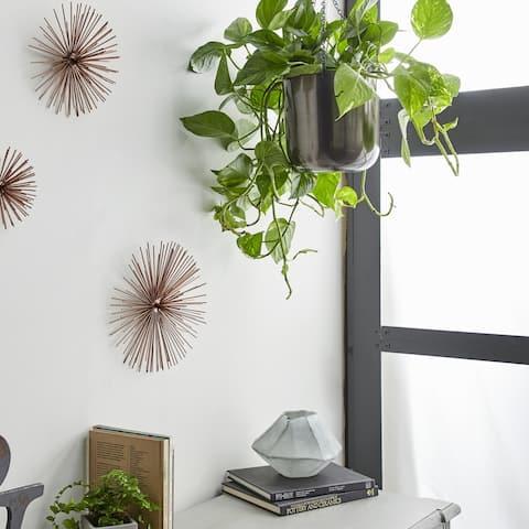 "Large, Round Metallic Silver Metal Hanging Indoor & Outdoor Planters Set of 2 - 10"" x 11"", 9"" x 9"""