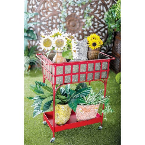 Farmhouse 32 x 27 Inch Iron and Aluminum Rolling Planter by Studio 350
