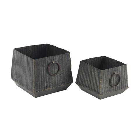 Set of 2 Industrial 10 and 12 Inch Square Corrugated Iron Planters