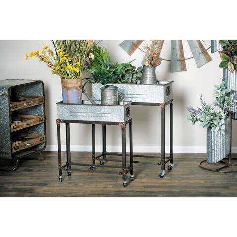Set of 2 Farmhouse 24 and 29 Inch Rectangular Gray Rolling Planters