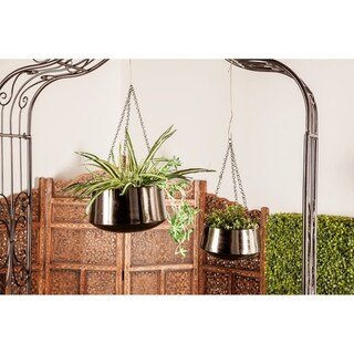 Set of 2 Modern 5 and 7 Inch Round Black Iron Hanging Planters