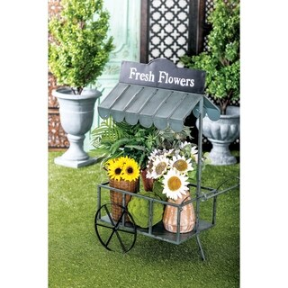 Farmhouse 44 x 32 Inch Black Iron Flower Cart with Roof by Studio 350