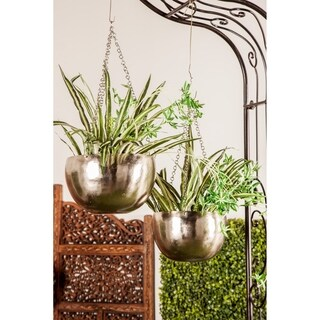 Set of 2 Modern 5 and 7 Inch Round Silver Iron Hanging Planters