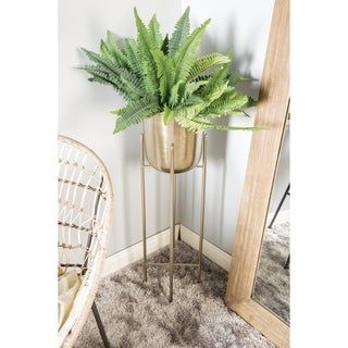 """Large Modern Metallic Silver Metal Planters with Stands Set of 2 - 12"""" x 46"""", 11"""" x 39"""""""