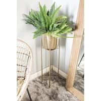 "Large Modern Metallic Silver Metal Planters with Stands Set of 2 - 12"" x 46"", 11"" x 39"""