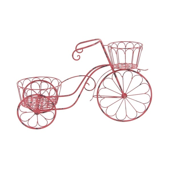 Eclectic 19 x 31 Inch Red Metal Bicycle Planter by Studio 350